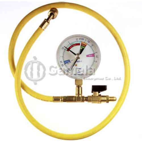 501022L-G - Flex-Hose-1-meter-With-Valve-And-Gauge-for-Nitrogen-and-refrigerant-R134-R410-and-R1234yf-etc