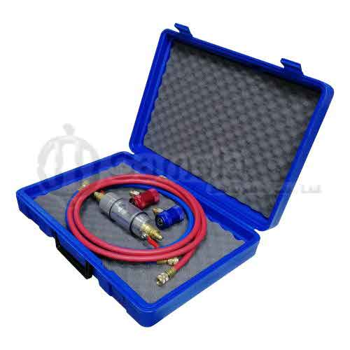 58949K-2 - Refrigerant-Checking-Tube-packed-in-plastic-case-with-1-8M-blue-and-red-hose-90-degree-manual-quick-coupler-H-and-L-For-R1234yf